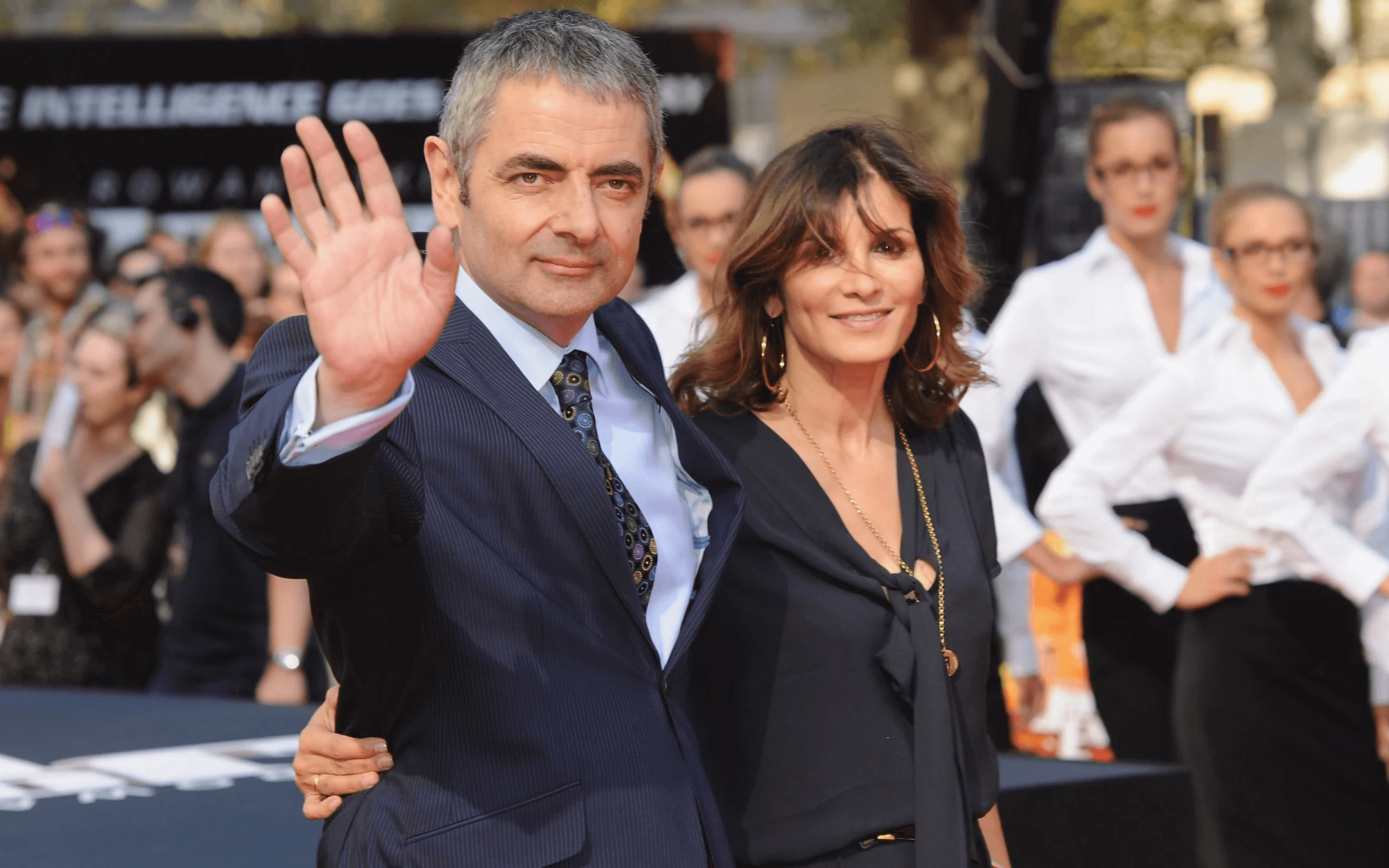 Rowan Atkinson with his ex-wife Sunetra Sastry